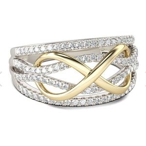 Two Toned Infinity Sterling Silver Band! NWT!
